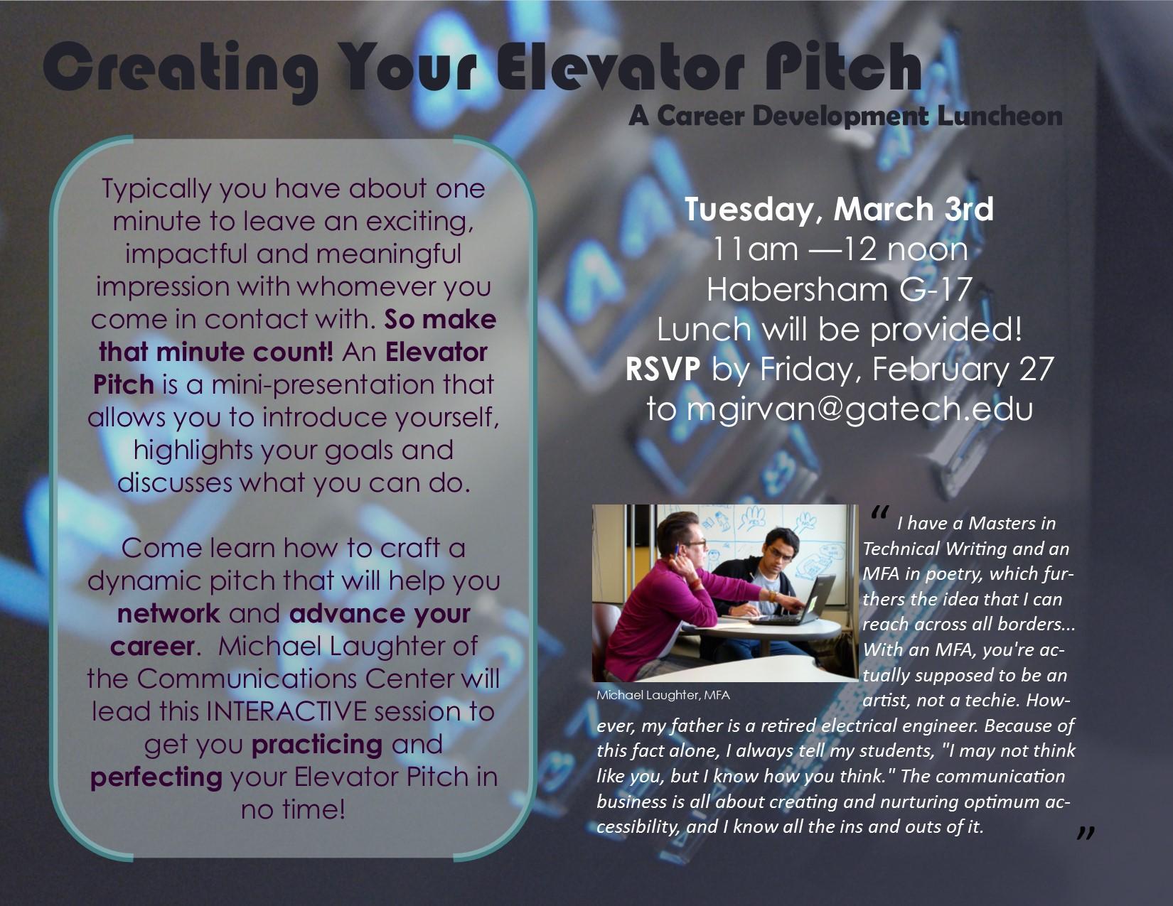 "March 3 – Nunn School Career Talk, ""Creating Your Elevator"