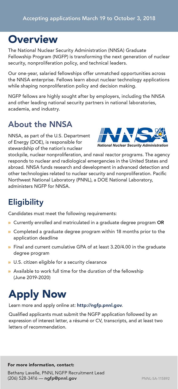 NNSA Graduate Fellowship Program Applications Open – INTA ...