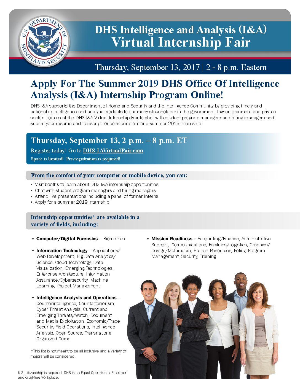 DHS Office of Intelligence and Analysis Virtual Internship Fair