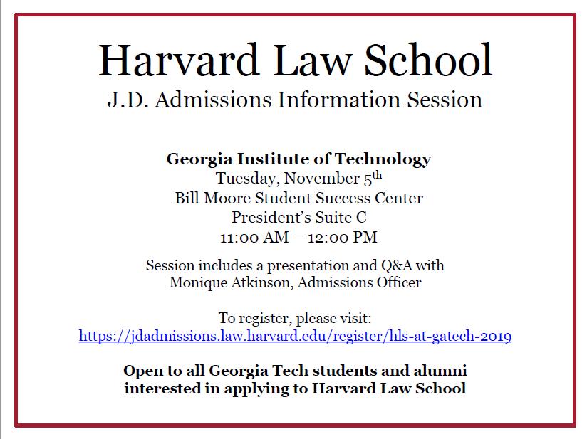 Harvard Law School Georgia Tech November 5 Inta Advising Blog